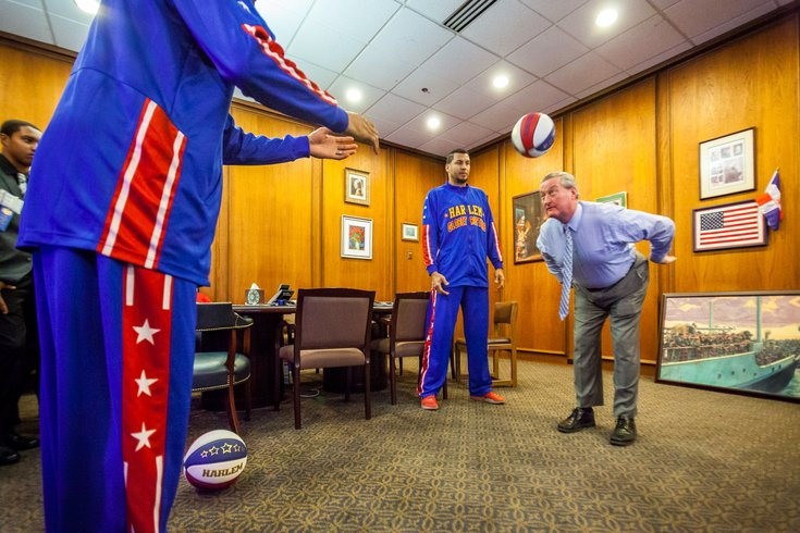 Carroll - Mayor Jim Kenney with Harlem Globetrotters