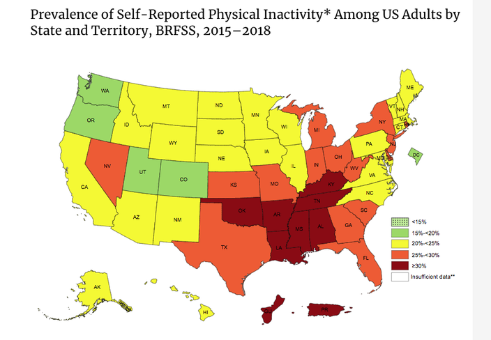 U.S. Physical Inactivity Prevalence Map