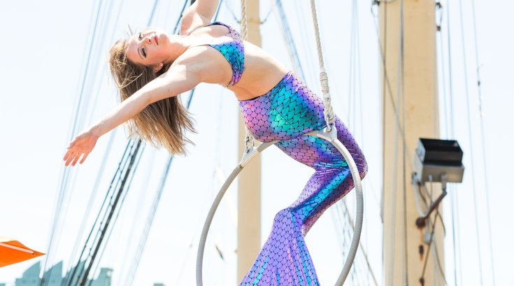 Carroll - Aerialist performs on The Deck at the Moshulu