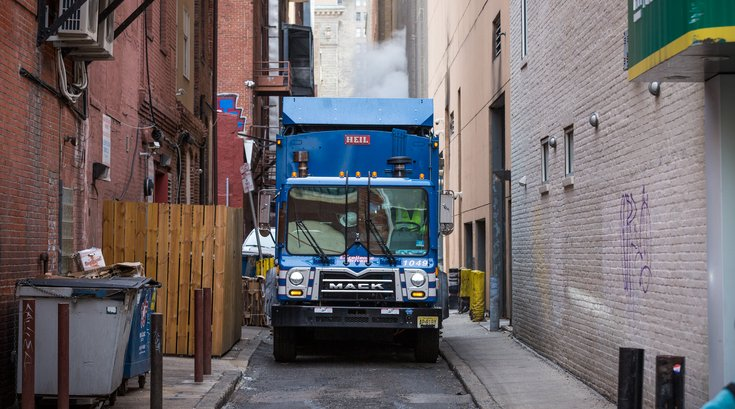Carroll - Garbage Truck in Center City Alley