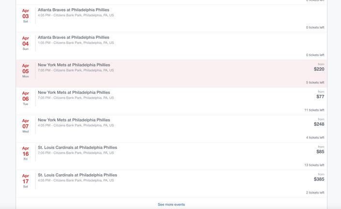 Phillies StubHub Listings