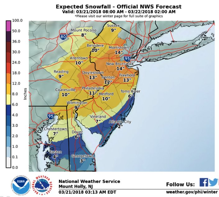 noaa philadelphia snow map Major Nor Easter To Drop Close To A Foot Of Snow In Philly noaa philadelphia snow map