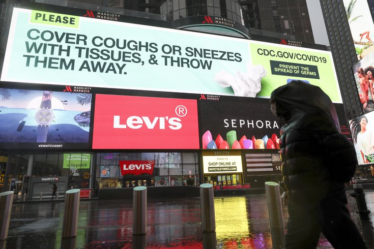 Coronavirus Times Square advertisement