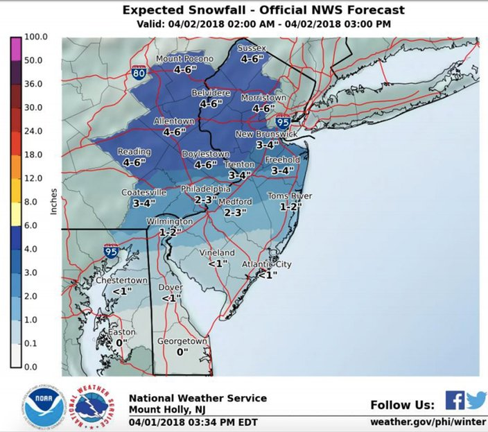 noaa philadelphia snow map Snow Ice Rain Causing Accidents During Morning Commute Phillyvoice noaa philadelphia snow map