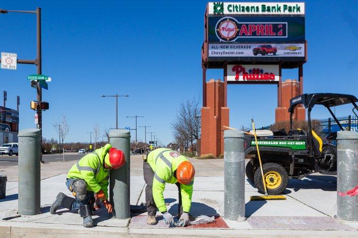 Carroll - Citizens Bank Park Bollards installed for pedestrian safety