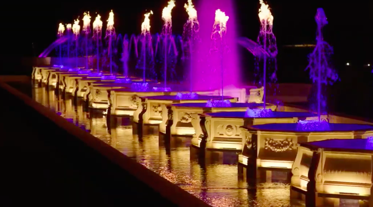 Illuminated Fountain Performance at Longwood Gardens