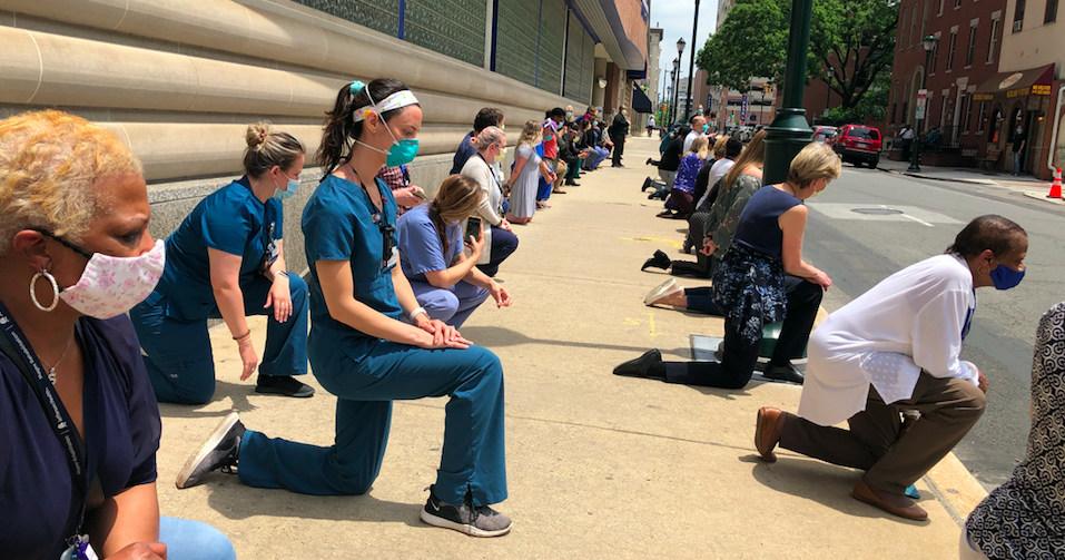 Philly health care workers join 'White Coats for Black Lives' demonstration