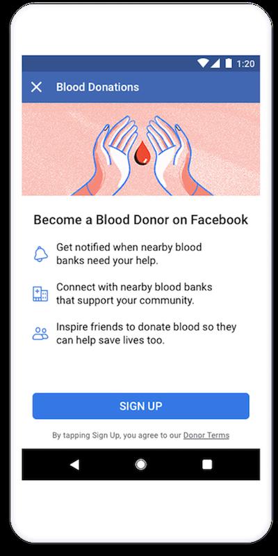facebook blood donation us