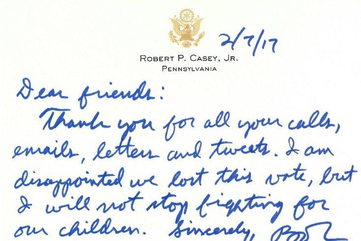 Sen. Bob Casey Thank You letter