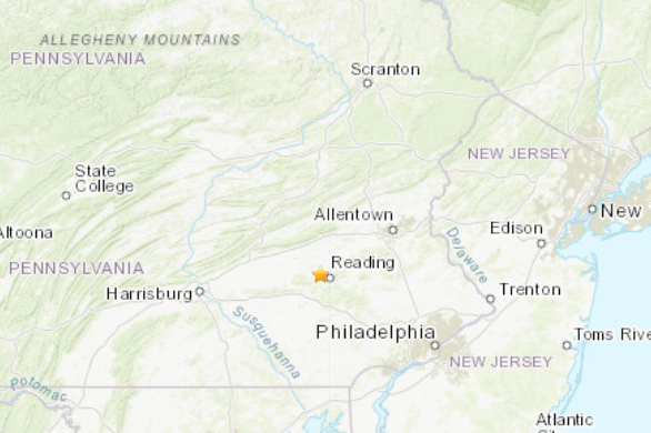 1.6 earthquake Wyomissing Hills Berks County