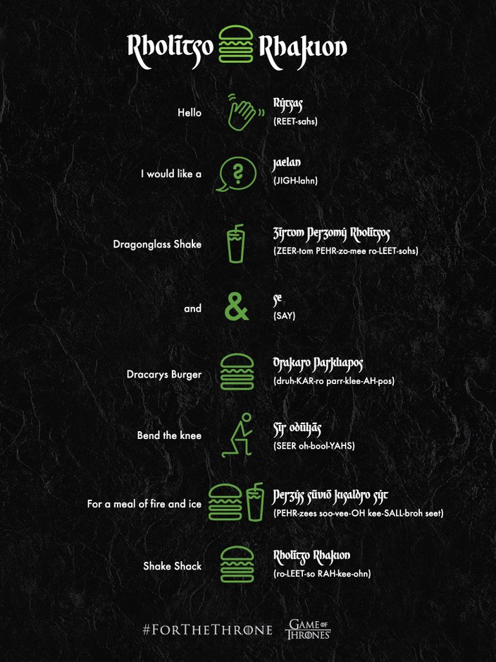 Shake Shack's Valyrian pronunciation guide for Game of Thrones menu items