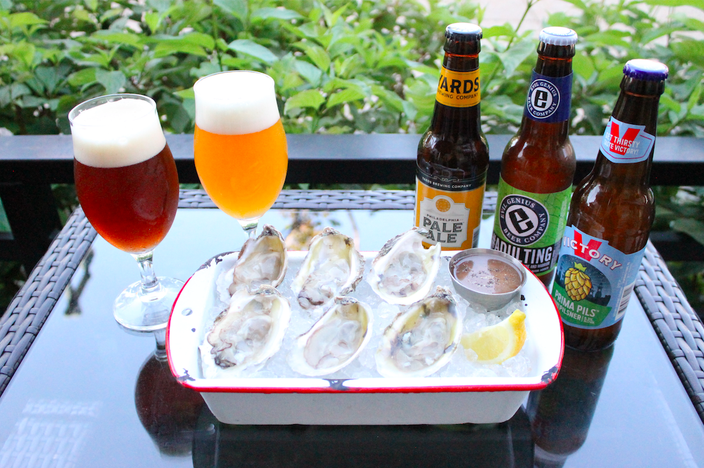 Urban Farmer throwing BeerBQ with barbecue, beer, oysters