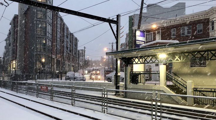 snow SEPTA wissahickon station