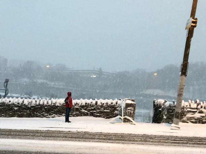 Snow SEPTA passenger