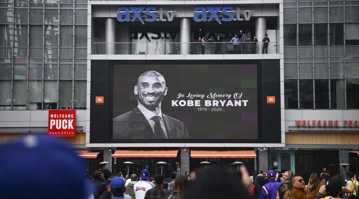 Kobe bryant mourners staples center