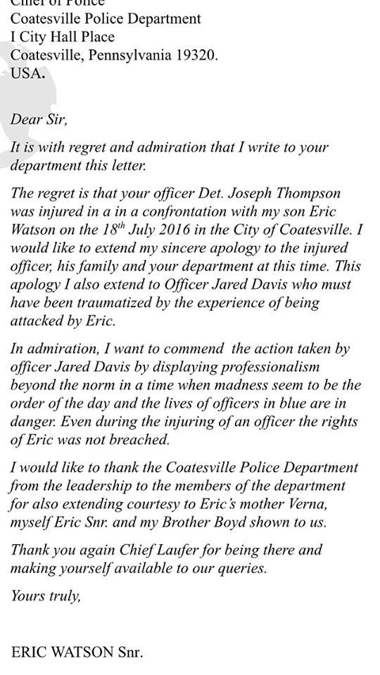 father of man who injured coatesville officer pens letter