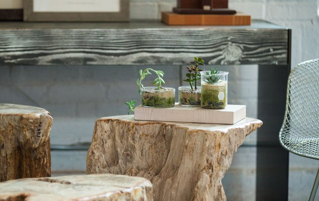 Metalized Wood Tables