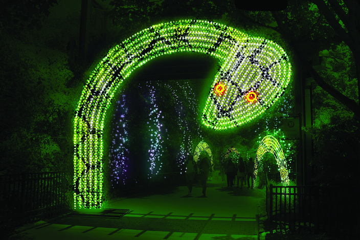 renderings of Philadelphia Zoo's new LumiNature, holiday light show