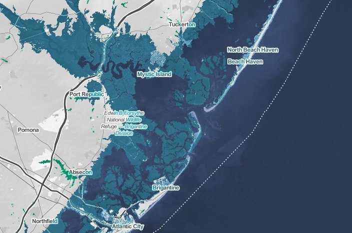 2050 flooding risk zones jersey shore