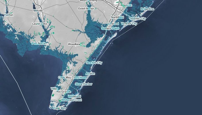 south jersey shore cape may flooding 2050 map