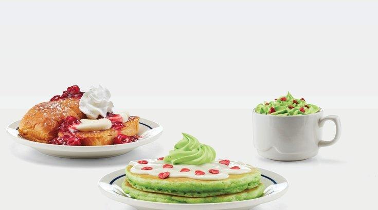 Grinch pancakes at IHOP