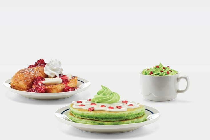 Grinch pancakes at IHOP