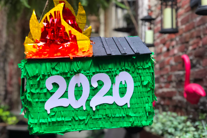 Dumpster fire pinata from Resting Gift Face