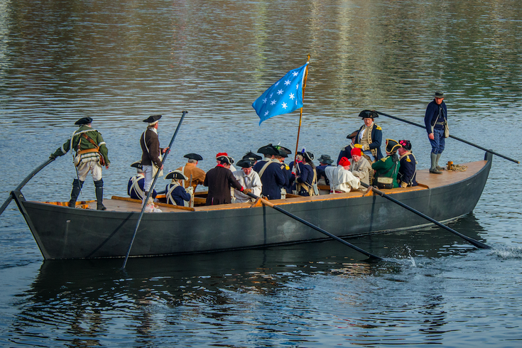 Washington Crossing Delaware Christmas Day 2020 Reenactment of Washington crossing the Delaware River to take