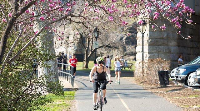 Riding a bike on trail