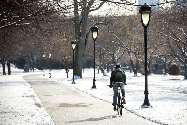 Riding bike along a snowy trail in Philly