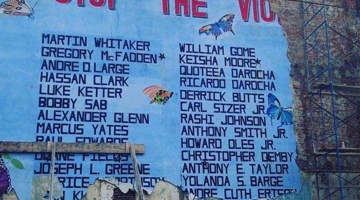 Destroyed mural