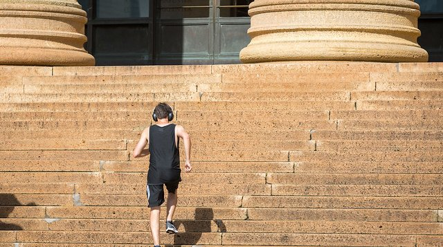 Exercising on the Art Museum Steps