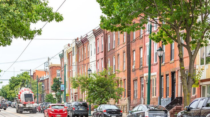 Rowhomes on Girard Ave in Brewerytown