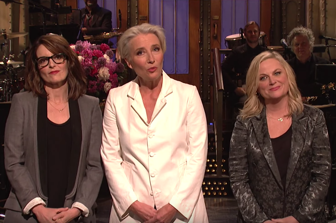 Emma Thompson, Tina Fey, and Amy Poehler in SNL monologue