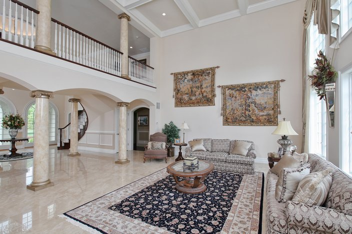The Second Floor Balcony Overlooks A M Ive Two Story Great Room