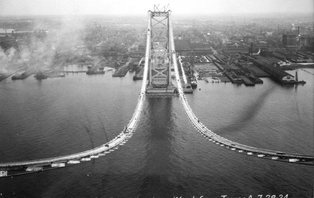 Ben Franklin Bridge construction 1