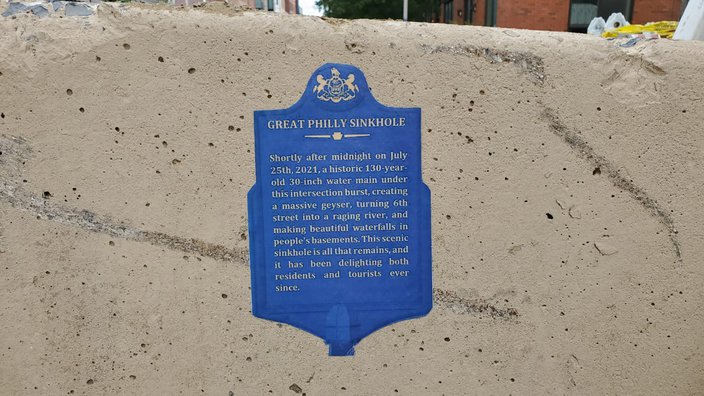 Great Philly Sinkhole plaque