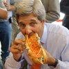 John Kerry eats a cheesesteak