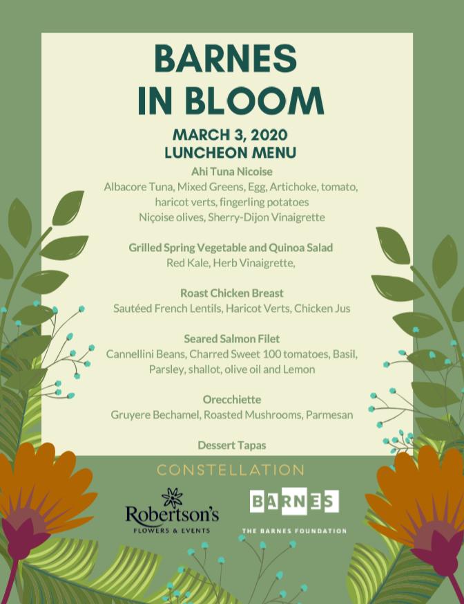 Barnes in Bloom menu - Flower Show event