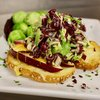 Brussel Sprout Slaw with Apple Cheddar Toast