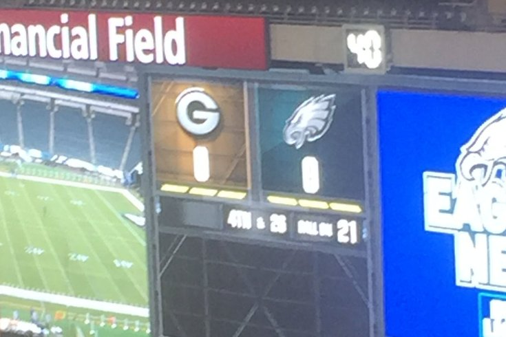 The Eagles Scoreboard Operators Trolled The Packers Before Tonight S Game Phillyvoice