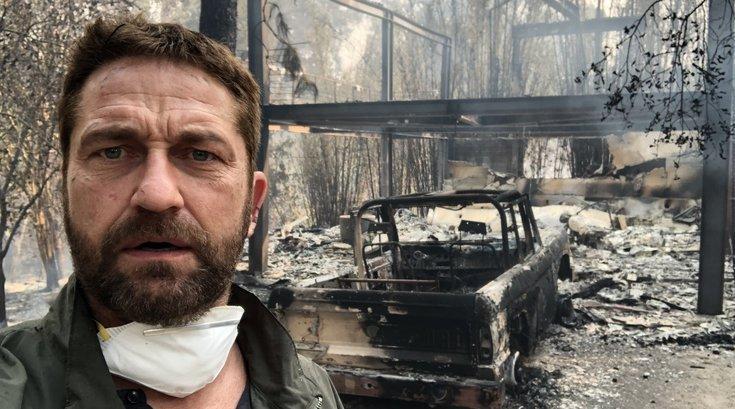 Gerard Butler posts video of fire destruction to his neighborhood