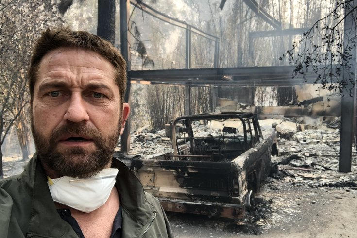 Gerard Butler posts video of fire destruction to his neighborhood