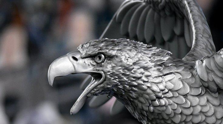 Eagle statue in football stadium