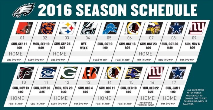 Eagles 2016 Schedule Dates Times And Broadcast