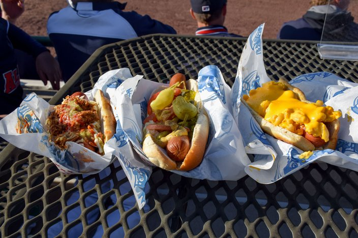 Loaded hot dogs from the Dog House stand at FirstEnergy Park