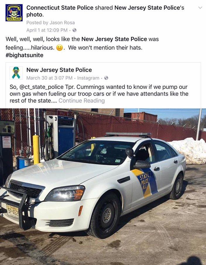 Jur-zee' State Police tweaked on Facebook by Connecticut