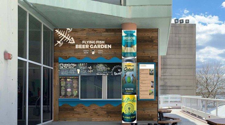 Rendering of new Flying Fish beer garden at Adventure Aquarium