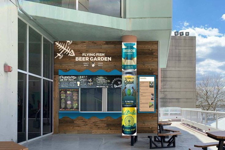 Rendering of new Flying Fish beer garden at Adventure Aquarium