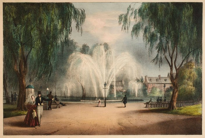 franklin square fountain watercolor